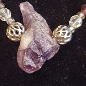 Natural Stone and silver amethyst necklace